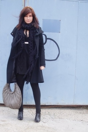 Zara coat - Zara shoes - American Apparel dress - American Apparel tights