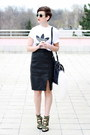 White-adidas-t-shirt-black-vintage-skirt