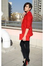 Black-zara-jeans-red-public-beware-blazer-red-h-m-bag-gold-bracelet