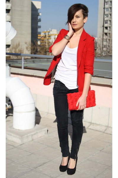 black Zara jeans - red Public Beware blazer - red H&M bag - gold bracelet