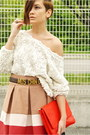 Red-zara-bag-white-american-apparel-top-beige-zara-skirt-brown-vintage-mos