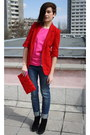 Black-zara-boots-red-public-beware-blazer-red-h-m-bag-hot-pink-top