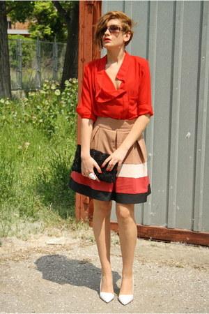 white Zara shoes - ruby red romwe shirt - black H&M bag - camel Zara skirt - whi