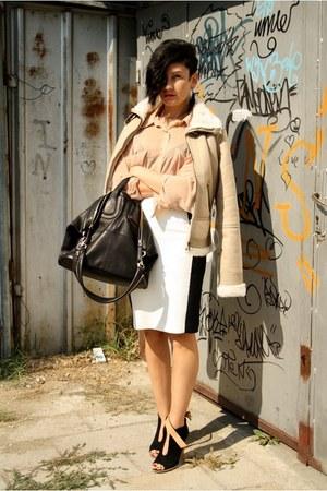 black Zara wedges - tan New Yorker jacket - nude American Apparel shirt