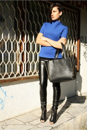 black New Yorker pants - blue Zara top - black Givenchy sandals