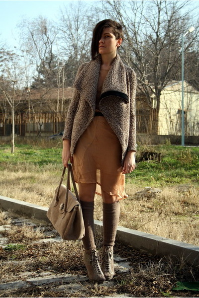 tan boots - nude dress - light brown Public Beware jacket - tan bag