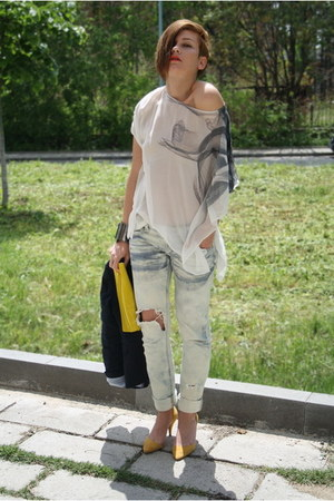 Zara shoes - DIY jeans - Zara blazer - H&M bag - amen top - Mango bracelet