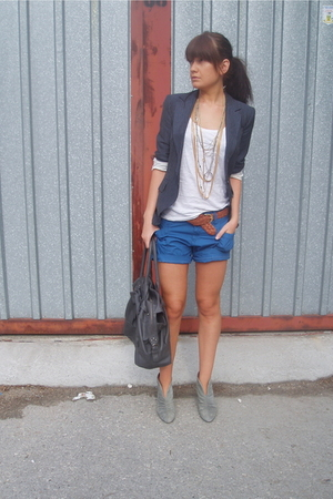 blue pin-striped Zara blazer - gray Zara shoes - blue Zara shorts