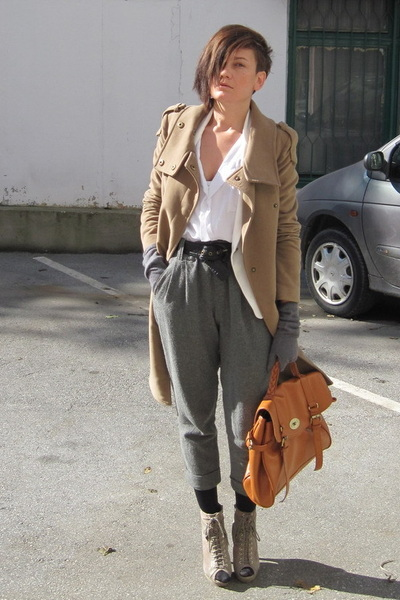 white Ebay shirt - beige asos shoes - beige Mango coat - white Zara blazer