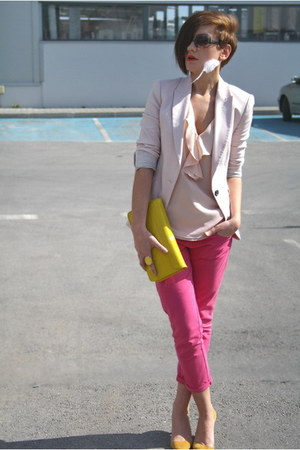 yellow clutch H&amp;M bag - hot pink Zara jeans - light pink Zara blazer