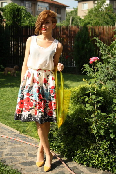 yellow H&M bag - yellow Zara shoes - cream Primark skirt - white romwe top