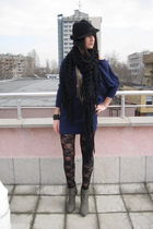 black lace American Apparel leggings - gray Stradivarius boots