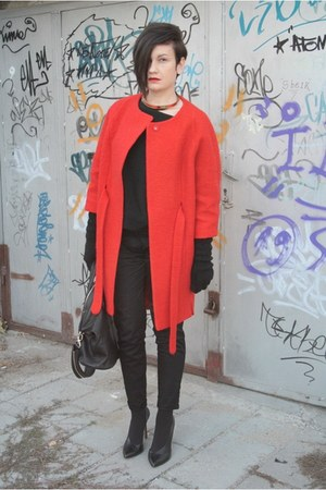 red H&M coat