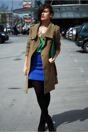 light brown Mango coat - green asos bag - blue Zara skirt - green Zara top - gol