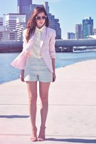 light blue Thimble shorts - light pink candy pink stylestalker blazer