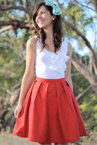 white Kookai top - red Krista Hochwallner skirt - blue silk bow accessories