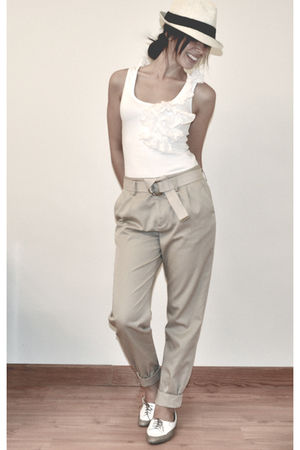 beige Urban Outfitters pants - white Kookai top - white Urban Outfitters shoes