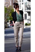 beige pants - black jacket - green top