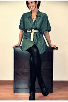 green vintage shirt - black Charlotte Russe shoes - beige Urban Outfitters belt