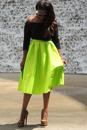 chartreuse Choies skirt - black Boohoo top - brown Christian Louboutin pumps