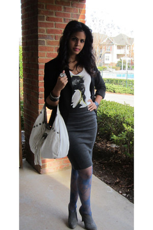 The Limited blazer - DKNY tights - A&amp;G Rock bag - Jessica Simpson heels