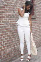 white Zara pants - light pink OASAP bag - white Zara blouse