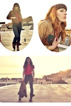 brown thrifted jacket - brown Steve Madden boots - navy skinny jeans BDG jeans