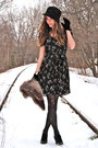 Black-h-m-dress-black-rouge-heels-black-forever-21-hat-black-vintage-glove