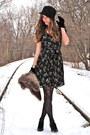 Black-h-m-dress-black-rouge-heels-black-forever-21-hat-black-vintage-glove