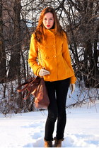 mustard Forever 21 coat - black acne jeans - tawny Carpisa bag - tawny Wholesale
