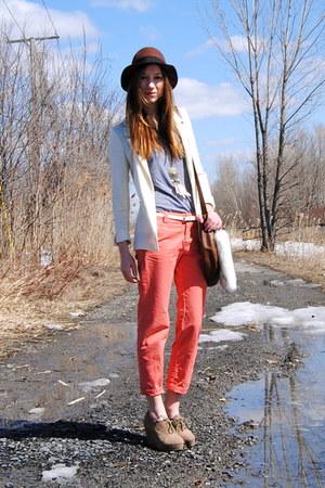 brown H&M hat - white H&M blazer - salmon Gap pants - heather gray American Appa
