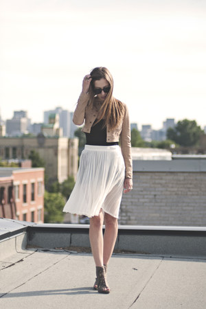 white sheer American Apparel skirt - nude cropped H&M vest