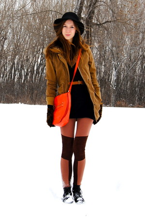 bronze parka Wholesale-Dress coat - burnt orange knee patches H&M leggings - car