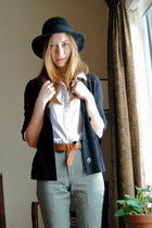 black H&M hat - white Forever21 blouse - black joe fresh style cardigan - olive