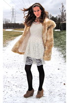 beige fur vintage coat - light brown wedges Forever 21 shoes