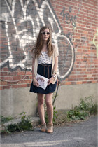 eggshell Forever 21 top - navy H&M skirt