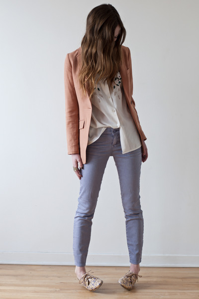 salmon H&amp;M blazer - light purple Gap jeans - white vintage blouse