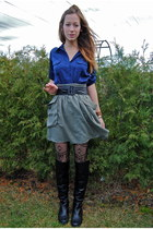 black Wanted boots - black Jessica Simpson tights - army green H&M skirt - navy