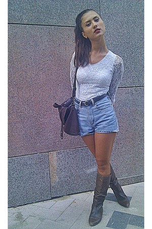 leather asoscom boots - Pimkie bag - denim Bershka shorts - no name belt