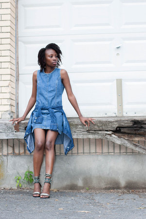 denim thrifted dress - lakota Jeffery Campbell sandals