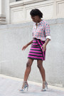 Gingham-forever-21-shirt-marc-by-marc-jacobs-skirt-zara-heels