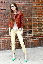 leather madewell jacket - madewell shirt - yellow skinnies madewell pants