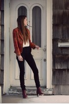 ruby red paisley vintage blazer - crimson ankle Zara boots