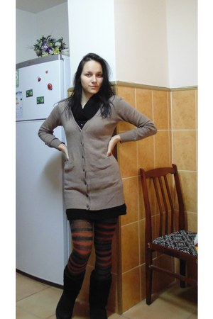 boots - dress - fila tights - LESS cardigan