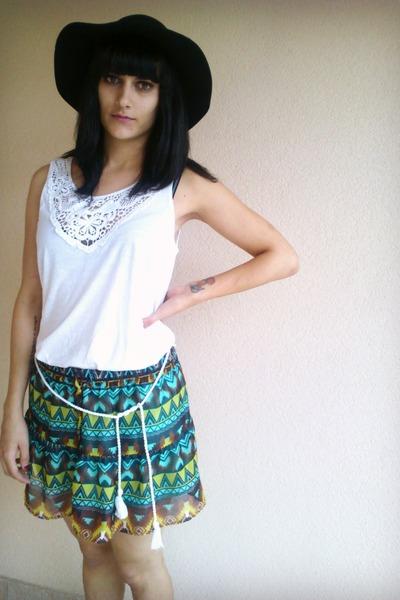 H&M hat - Gossip boots - c&a skirt - H&M top