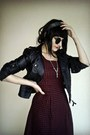 Crimson-checkered-new-yorker-dress-black-leather-bershka-jacket