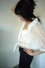 White-chiffon-dots-shirt-cream-cropped-bralet-dotti-top-black-zippers-pants