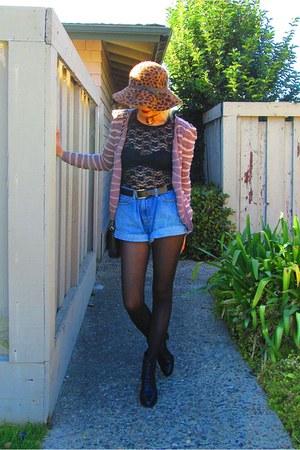 H&M top - merona hat - Vintage Gap denim shorts - H&M cardigan