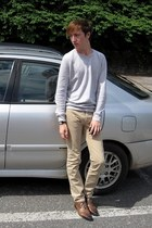 silver H&M sweater - beige Topman pants - burnt orange asos shoes