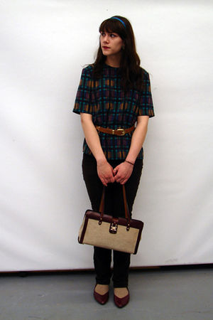 blue thrifted blouse - brown thrifted belt - brown kohls pants - beige Sox Appea